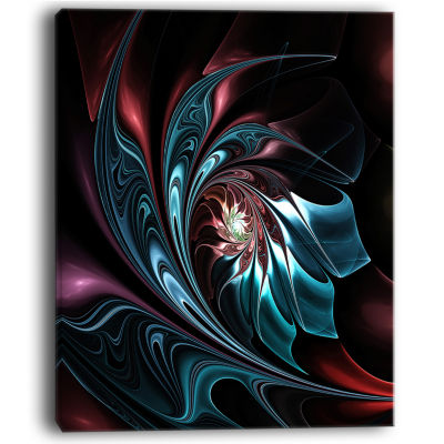 Designart Blue Abstract Floral Shapes Wall Art Canvas