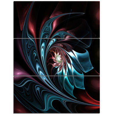 Designart Blue Abstract Floral Shapes Wall Art Canvas - 3 Panels