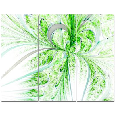 Designart Green Grungy Floral Fractal Shapes WallArt Canvas - 3 Panels
