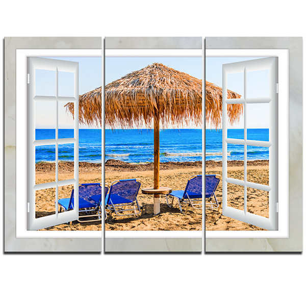 Designart Window Open To Beach Hut With Chairs Seashore Canvas Art - 3 Panels