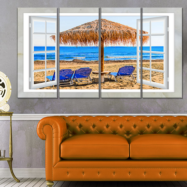 Designart Window Open To Beach Hut With Chairs Seashore Canvas Art - 4 Panels