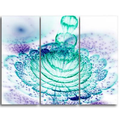 Designart Glossy Light Blue Fractal Flower Wall Art Canvas - 3 Panels