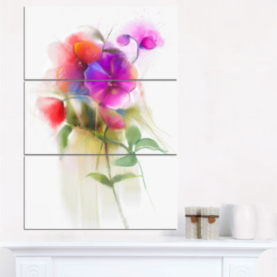 Designart Bunch Of Colorful Orchid Flowers CanvasWall Art - 3 Panels
