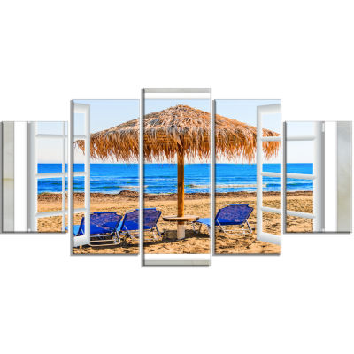 Designart Window Open To Beach Hut With Chairs Seashore Canvas Art - 5 Panels