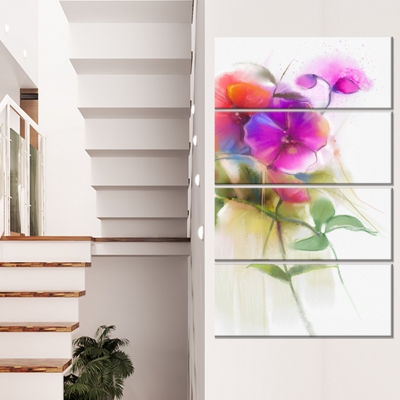 Designart Bunch Of Colorful Orchid Flowers CanvasWall Art - 4 Panels