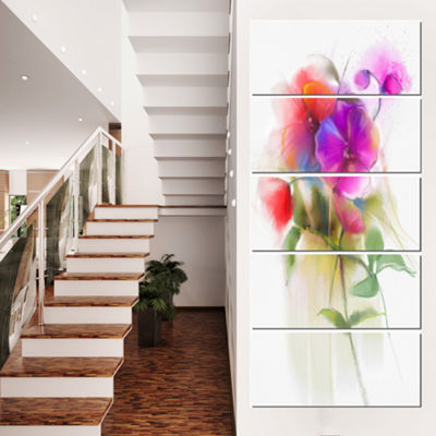 Designart Bunch Of Colorful Orchid Flowers CanvasWall Art - 5 Panels