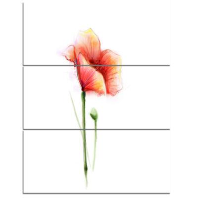 Designart Red Poppy Flower With Petals Flower Canvas Wall Art - 3 Panels