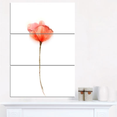 Design Art Watercolor Red Poppy Flower Canvas Wall Art - 3 Panels