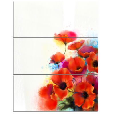 Designart Bunch Of Watercolor Poppy Flowers CanvasWall Art - 3 Panels