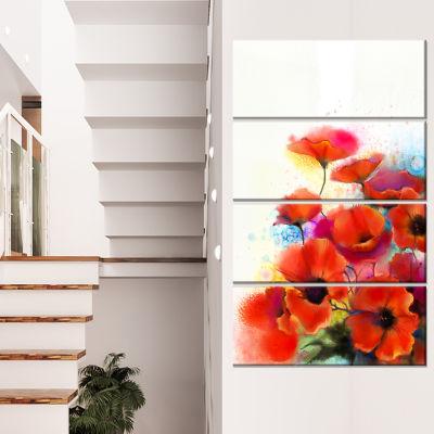 Designart Bunch Of Watercolor Poppy Flowers CanvasWall Art - 4 Panels