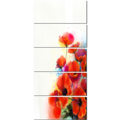 Designart Bunch Of Watercolor Poppy Flowers CanvasWall Art - 5 Panels