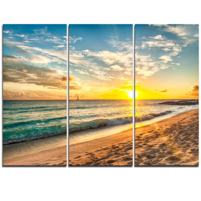 Design Art White Beach In Island Of Barbados Modern Seascape Canvas Art Work - 3 Panels