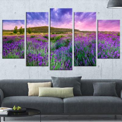 Designart Summer Lavender Field In Tihany Modern Landscape Wall Art Canvas - 5 Panels
