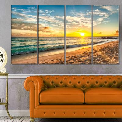 Designart White Beach In Island Of Barbados ModernSeascape Canvas Artwork - 4 Panels