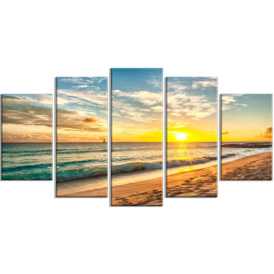 Designart White Beach In Island Of Barbados ModernSeascape Canvas Artwork - 5 Panels