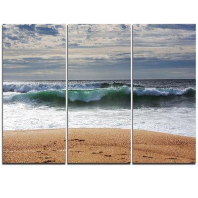Designart Blue Waves And Blue Sky Seashore CanvasPrint - 3 Panels