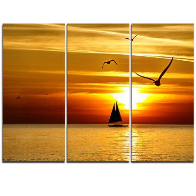 Designart Bright Yellow Beach With Birds SeashoreCanvas Print - 3 Panels
