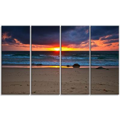 Designart Dramatic Colorful Sky Over Beach Seashore Canvas Print - 4 Panels