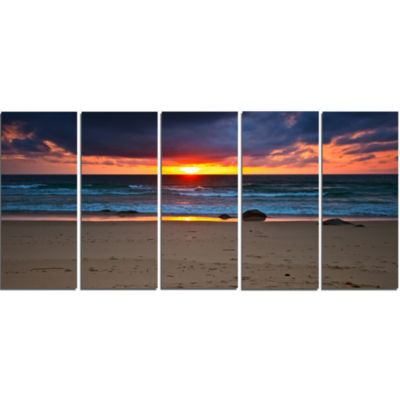Designart Dramatic Colorful Sky Over Beach Seashore Canvas Print - 5 Panels