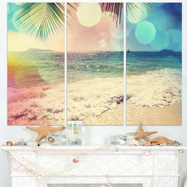 Designart Colorful Serenity Tropical Beach Seashore Canvas Print - 3 Panels