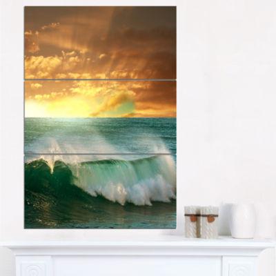 Designart Stormy White Wave In Blue Sea Modern Beach Canvas Art Print - 3 Panels