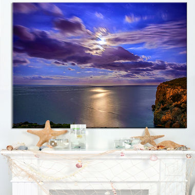 Designart Moon Reflecting In Blue Sea Modern Canvas Artwork