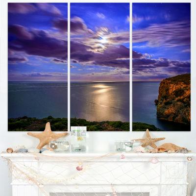 Designart Moon Reflecting In Blue Sea Modern Canvas Artwork - 3 Panels