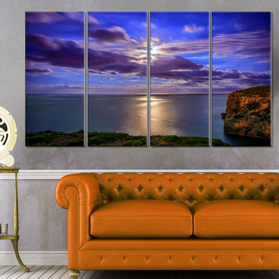 Designart Moon Reflecting In Blue Sea Modern Canvas Artwork - 4 Panels