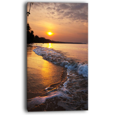 Designart White Foaming Waves At Sunset Modern Beach Canvas Art Print