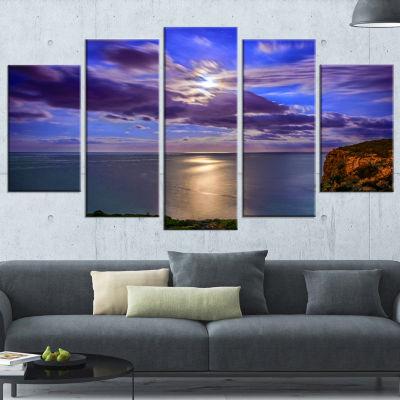 Designart Moon Reflecting In Blue Sea Modern Canvas Artwork - 5 Panels