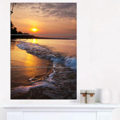 Designart White Foaming Waves At Sunset Modern Beach Canvas Art Print - 3 Panels