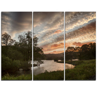 Designart Sunset Over Rydal Waters Landscape Artwork Canvas - 3 Panels