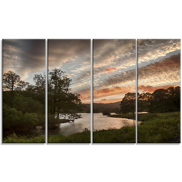 Designart Sunset Over Rydal Waters Landscape Artwork Canvas - 4 Panels