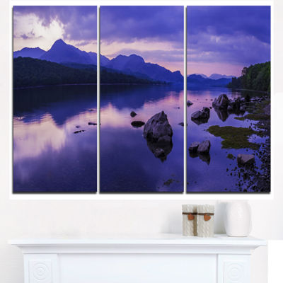 Designart Coniston Water In The Lake District Landscape Artwork Canvas - 3 Panels