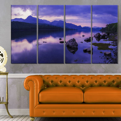 Design Art Coniston Water In The Lake District Landscape Artwork Canvas - 4 Panels