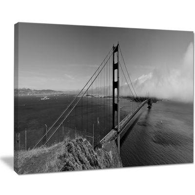 Design Art Golden Gate Bridge In Gray Panorama SeaBridge Canvas Art Print