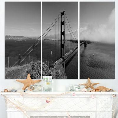 Designart Golden Gate Bridge In Gray Panorama SeaBridge Canvas Art Print - 3 Panels