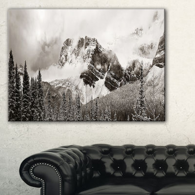 Design Art Snow Capped Hills And Bow Lake Landscape Canvas Art Print