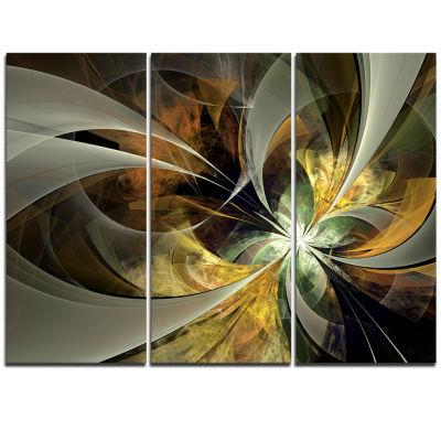 Designart Symmetrical Gold Fractal Flower Canvas Art Print - 3 Panels