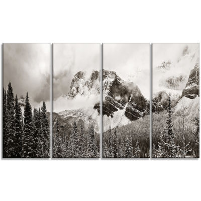 Designart Snow Capped Hills And Bow Lake LandscapeCanvas Art Print - 4 Panels