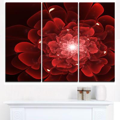 Designart Fractal Flower Clear Red Digital Art Canvas Art Print - 3 Panels