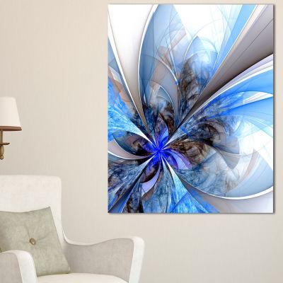 Designart Symmetrical Blue Fractal Flower Canvas Art Print