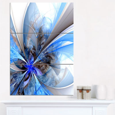 Designart Symmetrical Blue Fractal Flower Canvas Art Print - 3 Panels