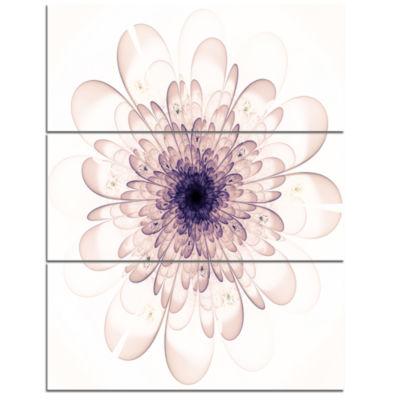 Design Art Perfect Glowing Fractal Flower In Purple Canvas Art Print - 3 Panels