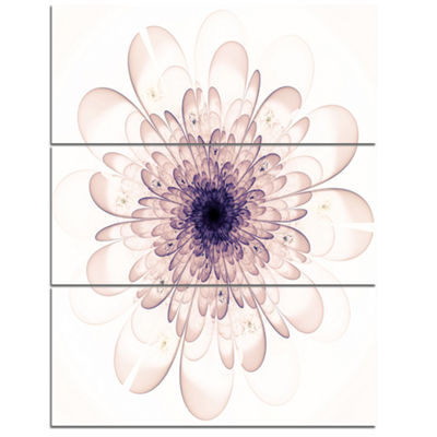 Designart Perfect Glowing Fractal Flower In PurpleCanvas Art Print - 3 Panels