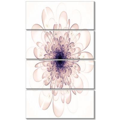 Designart Perfect Glowing Fractal Flower In PurpleCanvas Art Print - 4 Panels