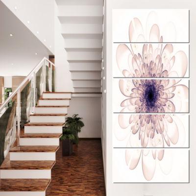 Designart Perfect Glowing Fractal Flower In PurpleCanvas Art Print - 5 Panels
