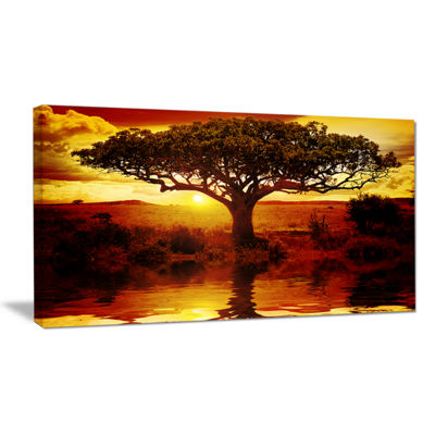 Designart Lonely Tree In African Sunset African Landscape Canvas Art