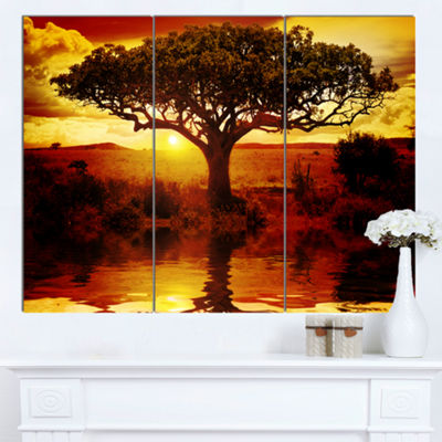 Designart Lonely Tree In African Sunset African Landscape Canvas Art - 3 Panels