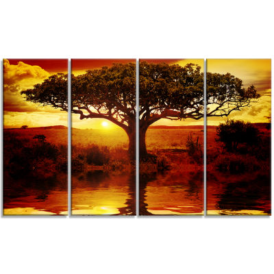 Designart Lonely Tree In African Sunset African Landscape Canvas Art - 4 Panels